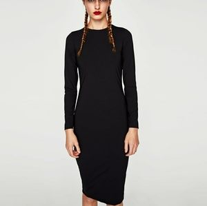 NWT Zara Black Midi Dress